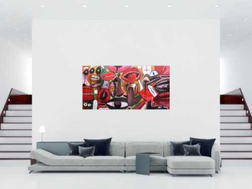 Abstraktes Gemälde modern Gesichter und Augen