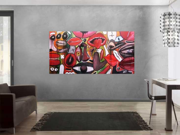 abstraktes gem lde modern gesichter und augen auf leinwand. Black Bedroom Furniture Sets. Home Design Ideas