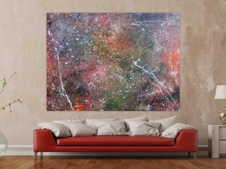 abstraktes acrylbild wandbild gem lde sehr gro modern unikat auf leinwand 150x200cm. Black Bedroom Furniture Sets. Home Design Ideas