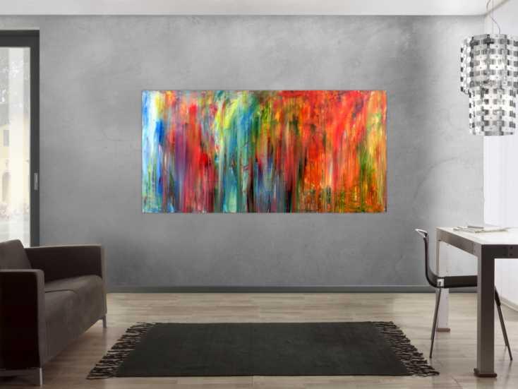modernes wandbild acryl modern und bunt auf leinwand 100x200cm. Black Bedroom Furniture Sets. Home Design Ideas