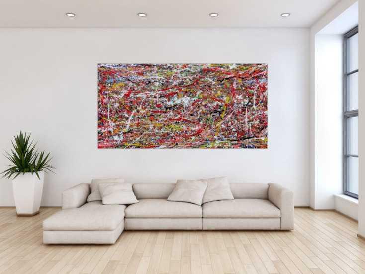 abstraktes wanbild acryl modern auf rahmen auf leinwand 100x200cm. Black Bedroom Furniture Sets. Home Design Ideas