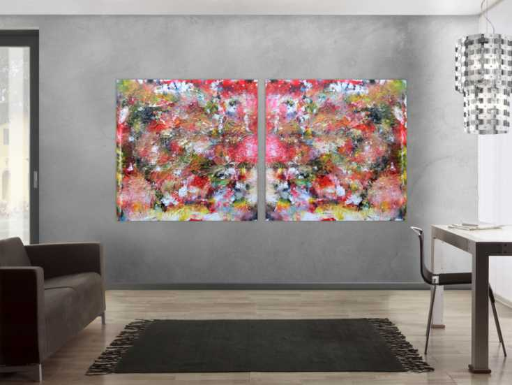 abstraktes kunstwerk gem lde acrylbild modern und sehr gro auf leinwand 120x240cm. Black Bedroom Furniture Sets. Home Design Ideas