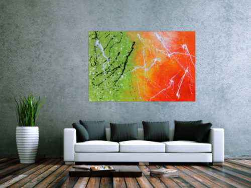 Abstraktes Gemälde grün orange modern
