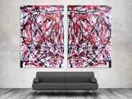 Detailaufnahme Abstraktes Acrylbild sehr groß weiß rot schwarz