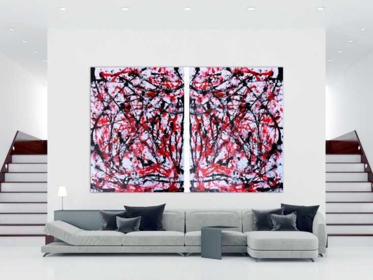 #193 Abstraktes Acrylbild sehr groß weiß rot schwarz 200x300cm von Alex Zerr