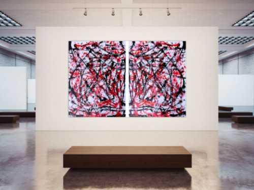 Abstraktes Acrylbild sehr groß weiß rot schwarz