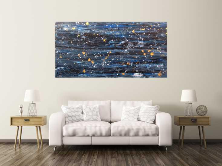 #198 Modernes Acrylbild abstrakt blau gold 100x200cm von Alex Zerr