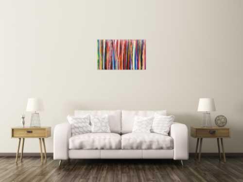 Abstraktes Acrylbild bunte Streifen modern