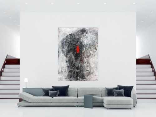 Modernes Acrylgemälde abstrakt grau und rot