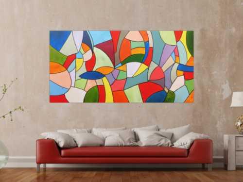 Abstraktes Acrylbild bunt modern viele Farben