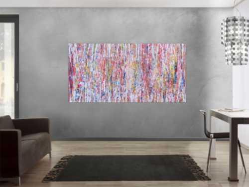 Abstraktes Acrylbild hell mit bunten Farben