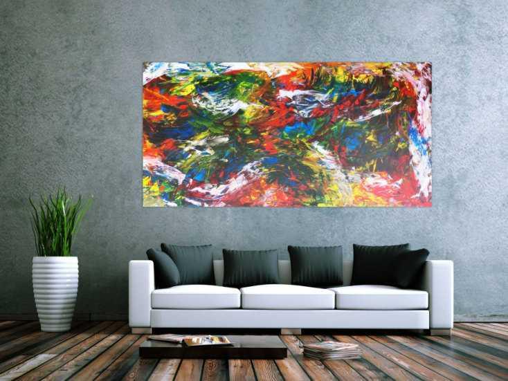 #212 Abstraktes Gemälde sehr bunt Spachteltechnik modern zeitgenössisch ... 100x200cm von Alex Zerr