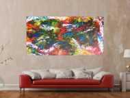 Abstraktes Gemälde sehr bunt Spachteltechnik modern zeitgenössisch expressionistisch