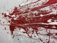 Detailaufnahme Abstraktes Acrylbild mit rotem Fleck - grau silber rot