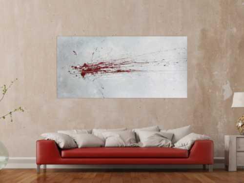 Abstraktes Acrylbild mit rotem Fleck - grau silber rot