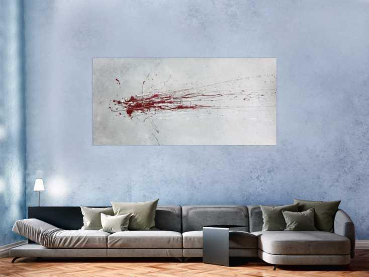 abstraktes acrylbild mit rotem fleck grau silber rot auf leinwand 90x180cm. Black Bedroom Furniture Sets. Home Design Ideas