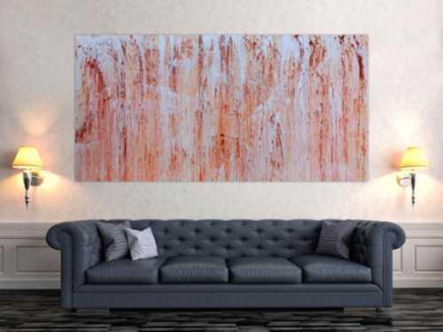 Abstraktes Acrylbils beige weiß braun modern groß