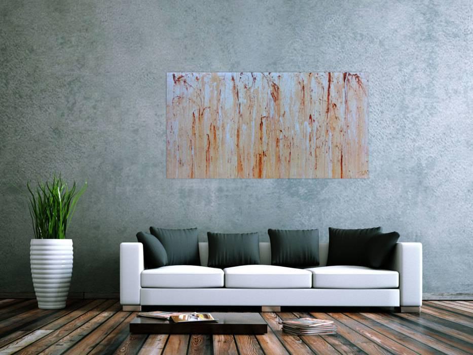 Modernes Gemälde Abstrakt In Beige Weiß Und Braun ...