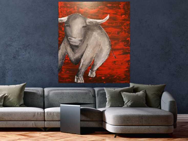 abstraktes acrylbild mit einem stier auf leinwand 80x100cm. Black Bedroom Furniture Sets. Home Design Ideas