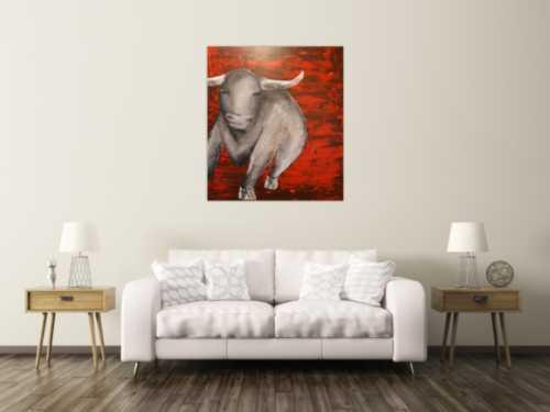 Abstraktes Acrylbild mit einem Stier