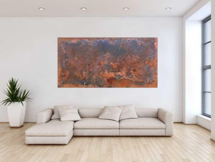 #220 Gemälde aus Rost abstrakt und modern im Großformat 100x200cm von Alex Zerr