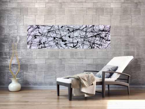 Abstraktes Acrylgemälde in schwarz weiß modern