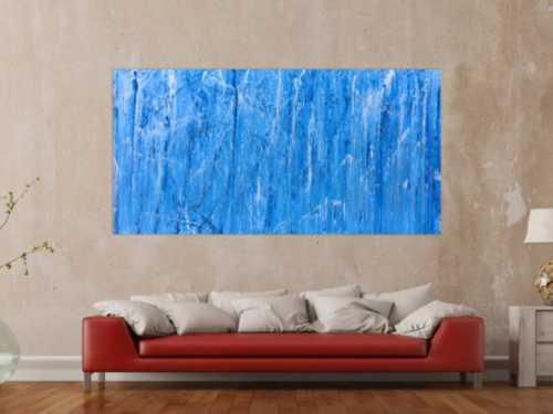 Abstraktes Acrylbild modern und schlicht in blau