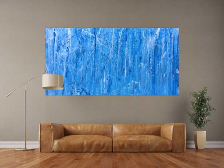 #225 Abstraktes Acrylbild modern und schlicht in blau 100x200cm von Alex Zerr