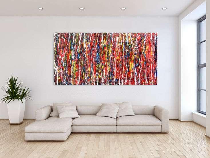 abstrakes modernes acrylbild bunt und gro auf leinwand 100x200cm. Black Bedroom Furniture Sets. Home Design Ideas