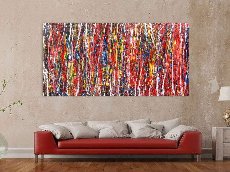 abstrakes modernes acrylbild bunt und gro auf leinwand 100x200cm. Black Bedroom Furniture Sets. Home Design Ideas