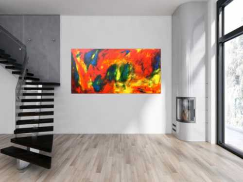 Abstraktes Acryl Gemälde bunt modern ausgefallen