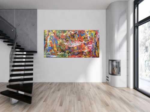 Abstraktes Acrylbild spritzer bunt modern