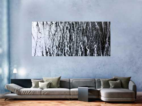 Abstraktes Acrylbild modern schwarz weiß schlicht