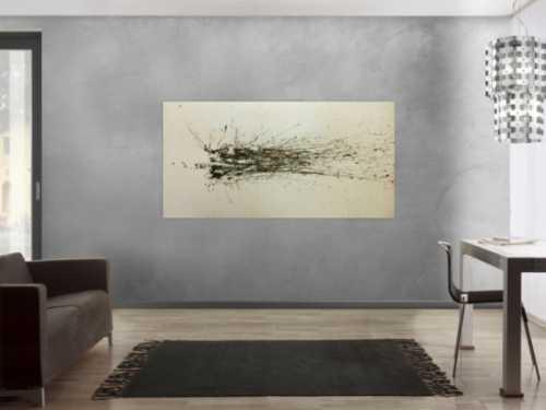 Abstraktes Acrylbild brauner Fleck modern