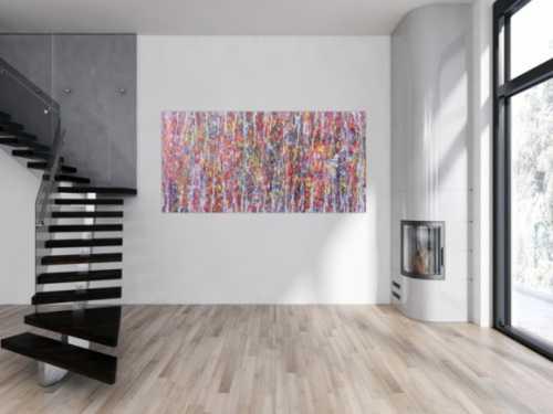 Abstraktes Acrylbild bunt mit weißen Streifen
