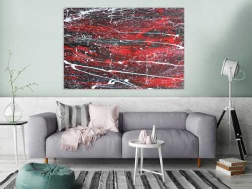 Abstraktes Acrylbild schwarz/rot