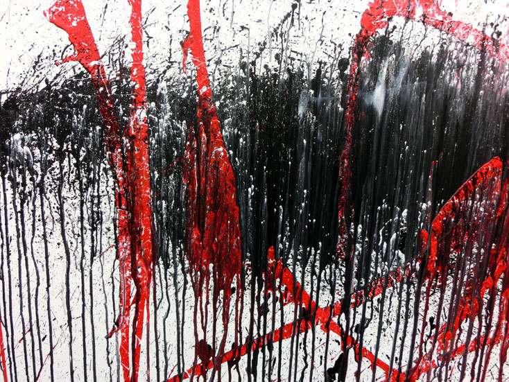 abstraktes gem lde modern wei schwarz rot auf leinwand 100x200cm. Black Bedroom Furniture Sets. Home Design Ideas
