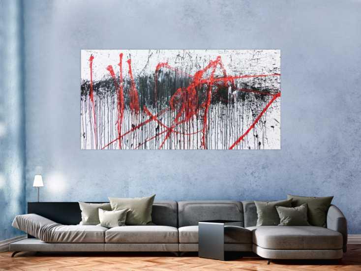 abstraktes gem lde modern wei schwarz rot auf leinwand. Black Bedroom Furniture Sets. Home Design Ideas