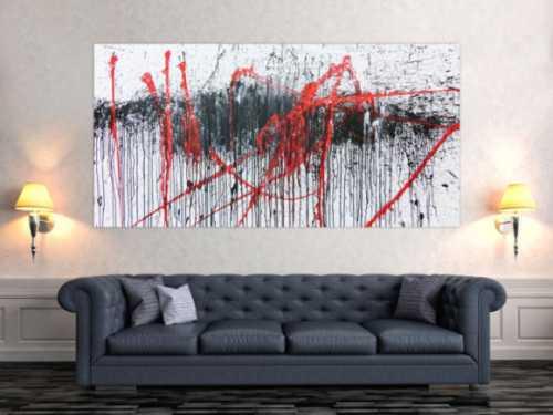 Abstraktes Gemälde modern weiß schwarz rot