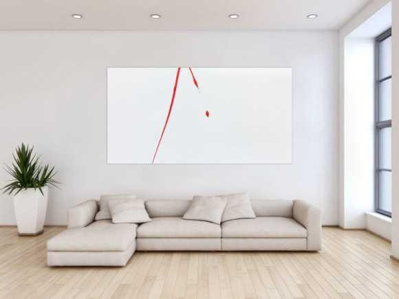 Abstraktes Acrylgemälde weißt rot minimalistisch und modern