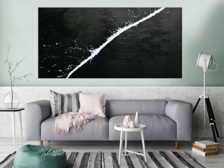 minimalistisches acrylgem lde abstrakt moderne kunst schwarz wei auf leinwand 100x200cm. Black Bedroom Furniture Sets. Home Design Ideas
