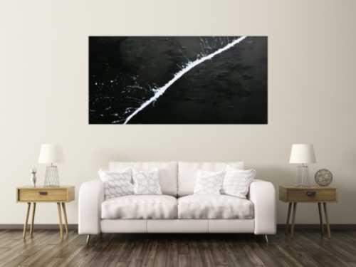 Minimalistisches Acrylgemälde abstrakt moderne Kunst schwarz weiß