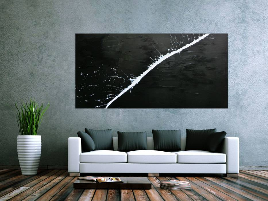 Fantastisch Minimalistisches Acrylgemälde Abstrakt Moderne Kunst Schwarz Weiß  Handgemalt Auf Leinwand In 100x200cm Von Alex Zerr