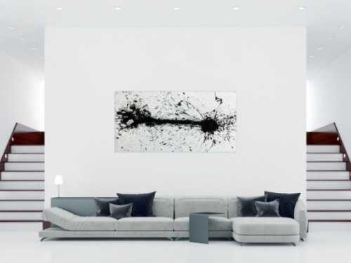 Abstraktes Acrylgemälde moderne Kunst in schwarz weiß