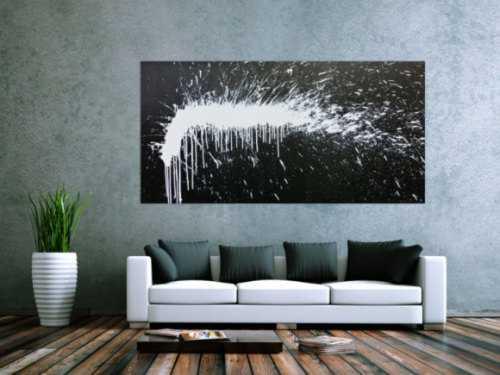 Modernes Acrylbild abstrakt schwarz weiß Modern Art