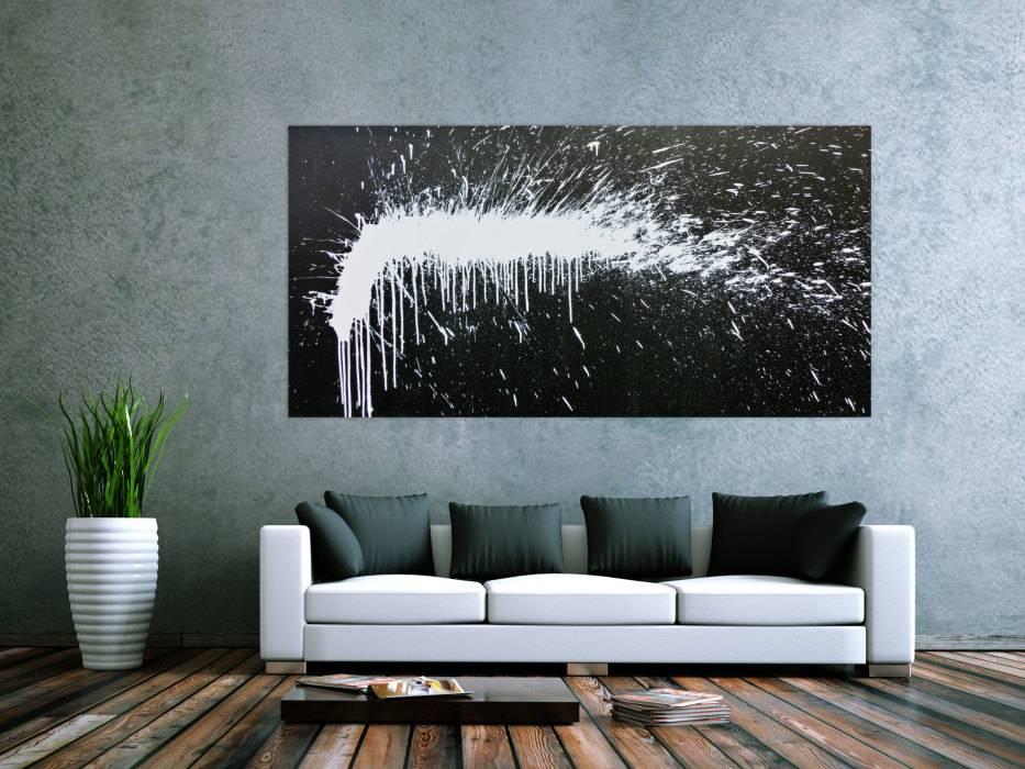 modernes acrylbild abstrakt schwarz wei modern art handgemalt auf leinwand in 100x200cm von. Black Bedroom Furniture Sets. Home Design Ideas