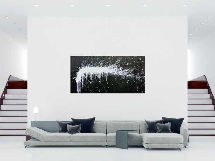 modernes acrylbild abstrakt schwarz wei modern art auf leinwand 100x200cm. Black Bedroom Furniture Sets. Home Design Ideas