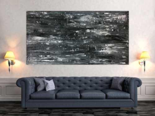 Schwarz weißes Acrylbild abstrakt