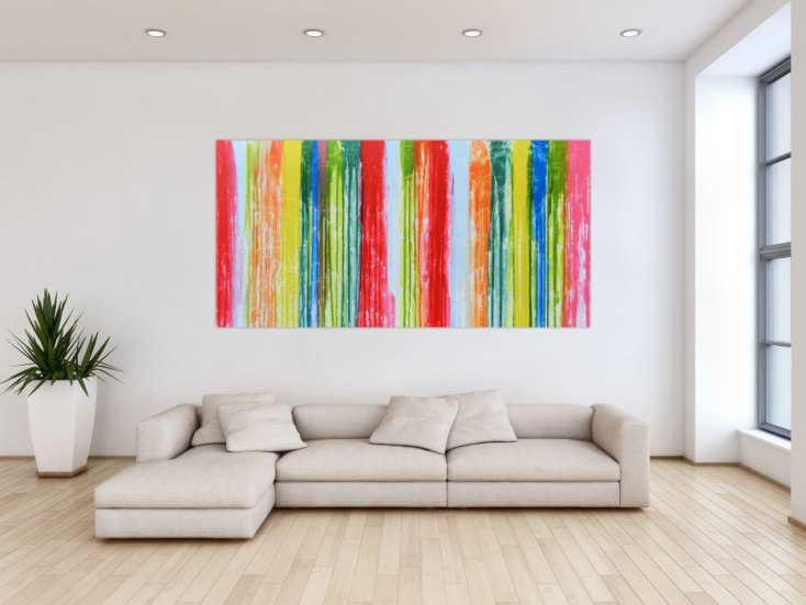 abstraktes acrylbild bunt modern viele farben auf leinwand 100x200cm. Black Bedroom Furniture Sets. Home Design Ideas