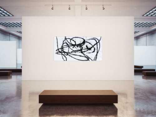 Abstraktes Actylbild minimalistisch schwarz weiß modern